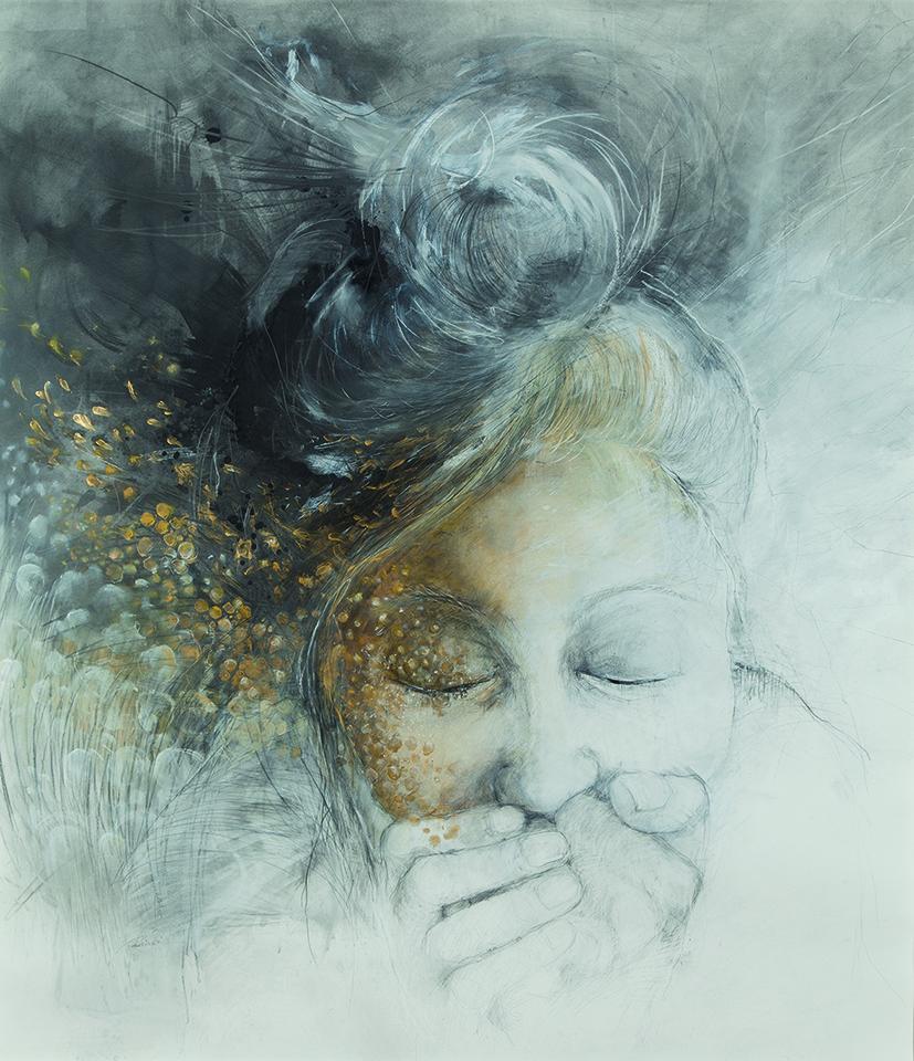 """""""1001 Funken"""", 140 x 150 cm, Graphit Acrylgold auf Fabianopapier, Anne Rosinski"""