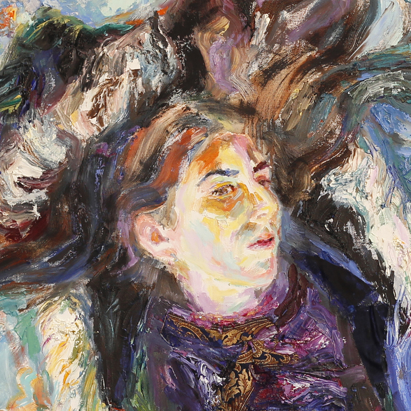 """Bildausschnitt aus """"Margaritas Traum"""", 120 x 120 cm, Öl auf Leinwand, Mandy Friedrich"""
