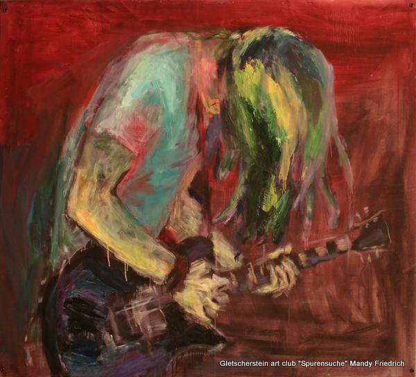 """""""Großer Gitarrist"""" Öl auf Leinen, 2006/ 2012140 x 155cm"""
