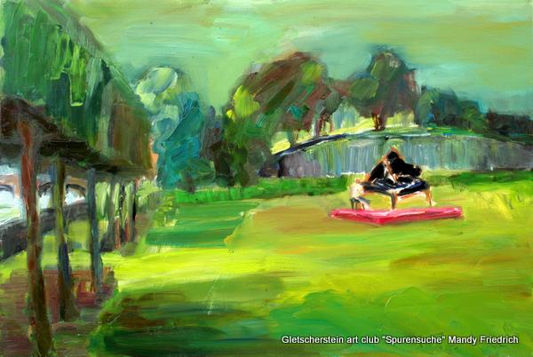 """""""Nachtmusik im Palaisgarten"""" Öl auf Leinen, 2009 70 x 100cm"""