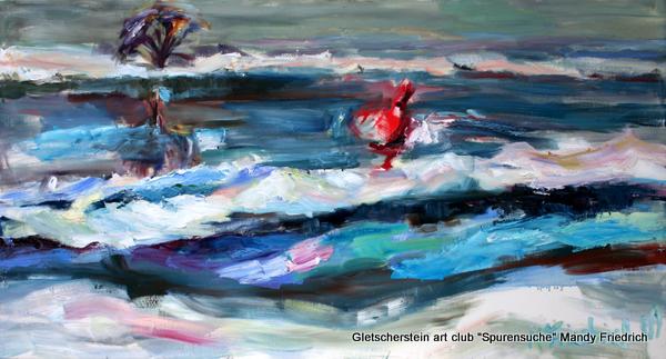 """""""Schneetreiben"""" Öl auf Leinen, 2009 70 x 130cm"""