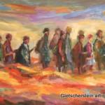 """""""Wie im Himmel"""" Kinder der Vergangenheit Öl auf Leinen, 2012 Tryptichon, 140 x 380cm"""