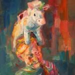 """""""Paula und Einhorn"""" Öl auf Leinen, 2012/ 2013100 x 70cm"""