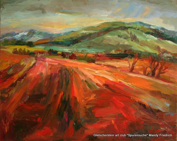 """""""Vor den sieben Bergen"""" Öl auf Leinen, 2013 80 x 100cm"""