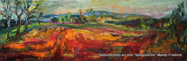 """""""Feld im Abendlicht"""" Dörfel Öl auf Leinen, 2014 40 x 120cm"""