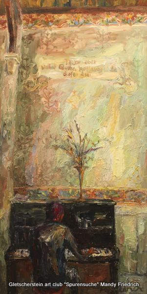 """""""In der Kapelle"""" Monsieur Abdi Öl auf Leinen, 2015 200 x 100cm"""