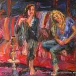 """""""Shishapoeten mit Reiterin"""" Öl auf Leinen, 2016 120 x 160cm"""