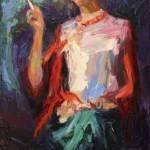 """""""Frida mit Obstschale"""" Öl auf Leinen, 2017 100 x 50cm"""