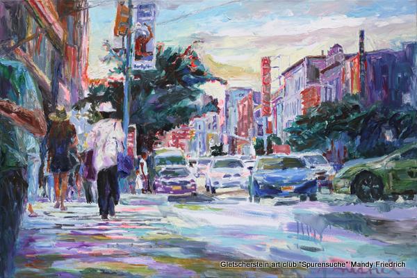 """Harlem Apollo Street"" New York Öl auf Leinen, 2017 80 x 120cm"