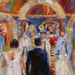 """Holy Love"" Greek orthodox wedding New York	 Öl auf Leinen, 2017		 80 x 40cm"