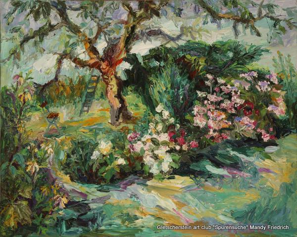 Kirschbaum mit Sonnenhut und Hortensien Öl auf Leinen, 201780 x 100cm