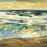 """Meer-Möwen"" Öl auf Leinen, 2017 120 x 180cm"