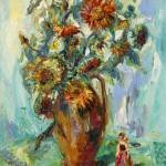 """""""Sonnenblumenvase und Dewuscka"""" Öl auf Leinen, 2017 120 x 180cm"""