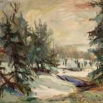 """""""Tal im Nebel"""" Öl auf Leinen, 201760 x 70cm"""